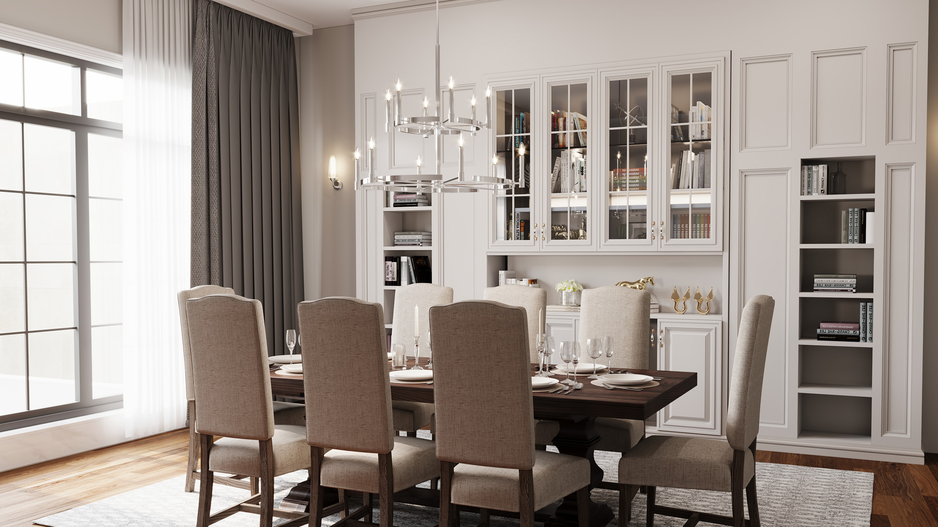 Day time dining room image featuring Tolani chandelier 52428PN
