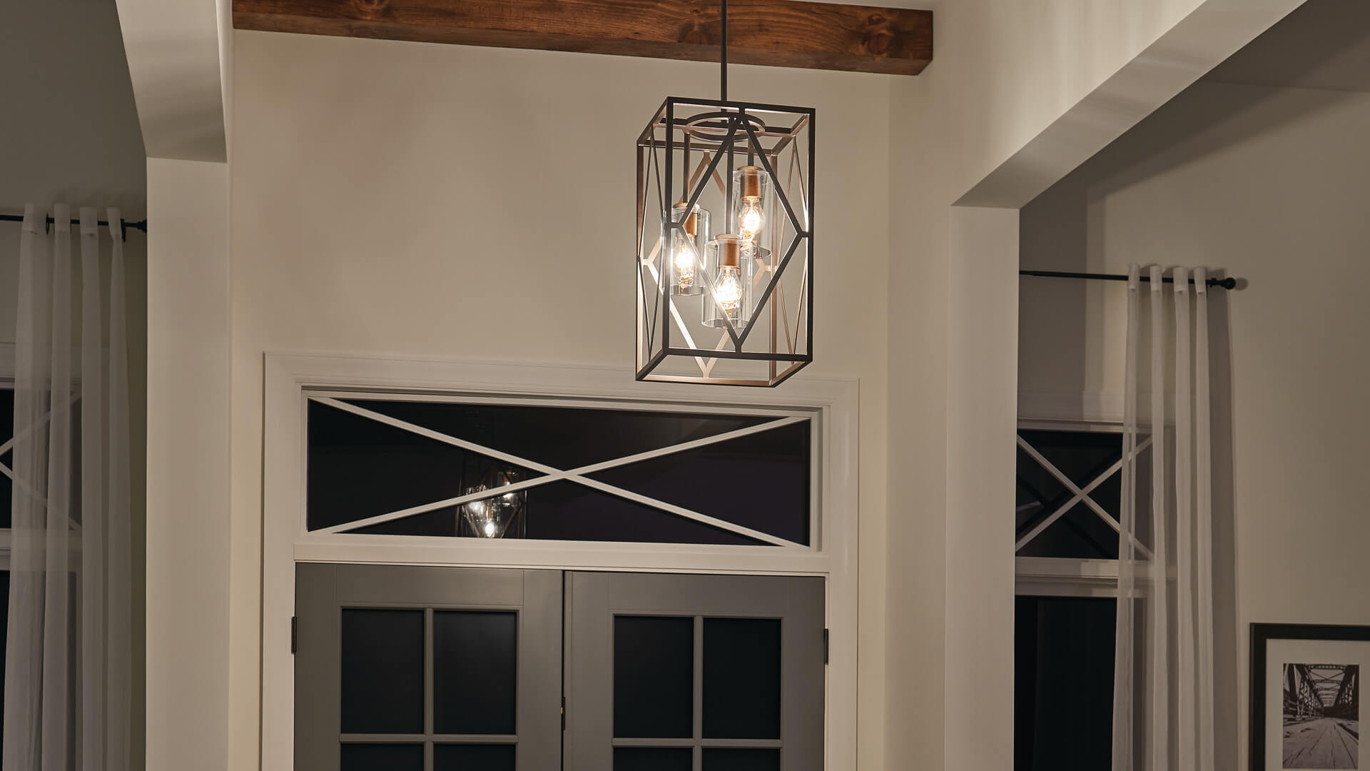 Front door at night with Pendant Solander, 82317