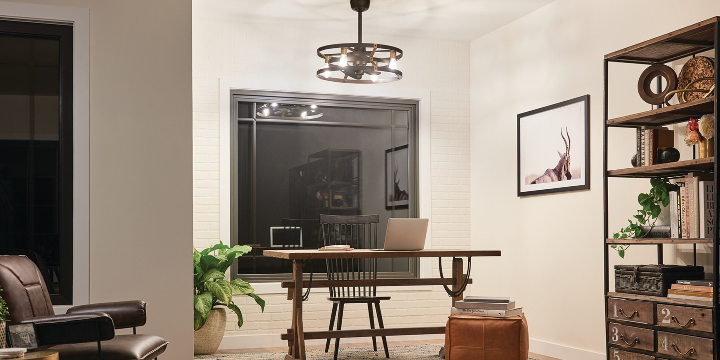 Night time office image featuring Cavelli ceiling fan 300040SNB