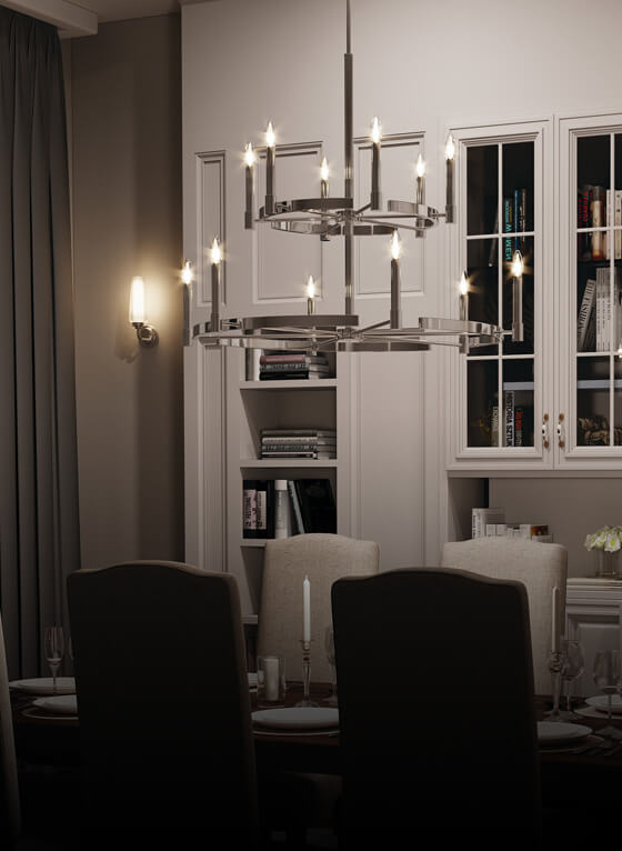 Night time dining room image featuring Tolani chandelier 52428PN