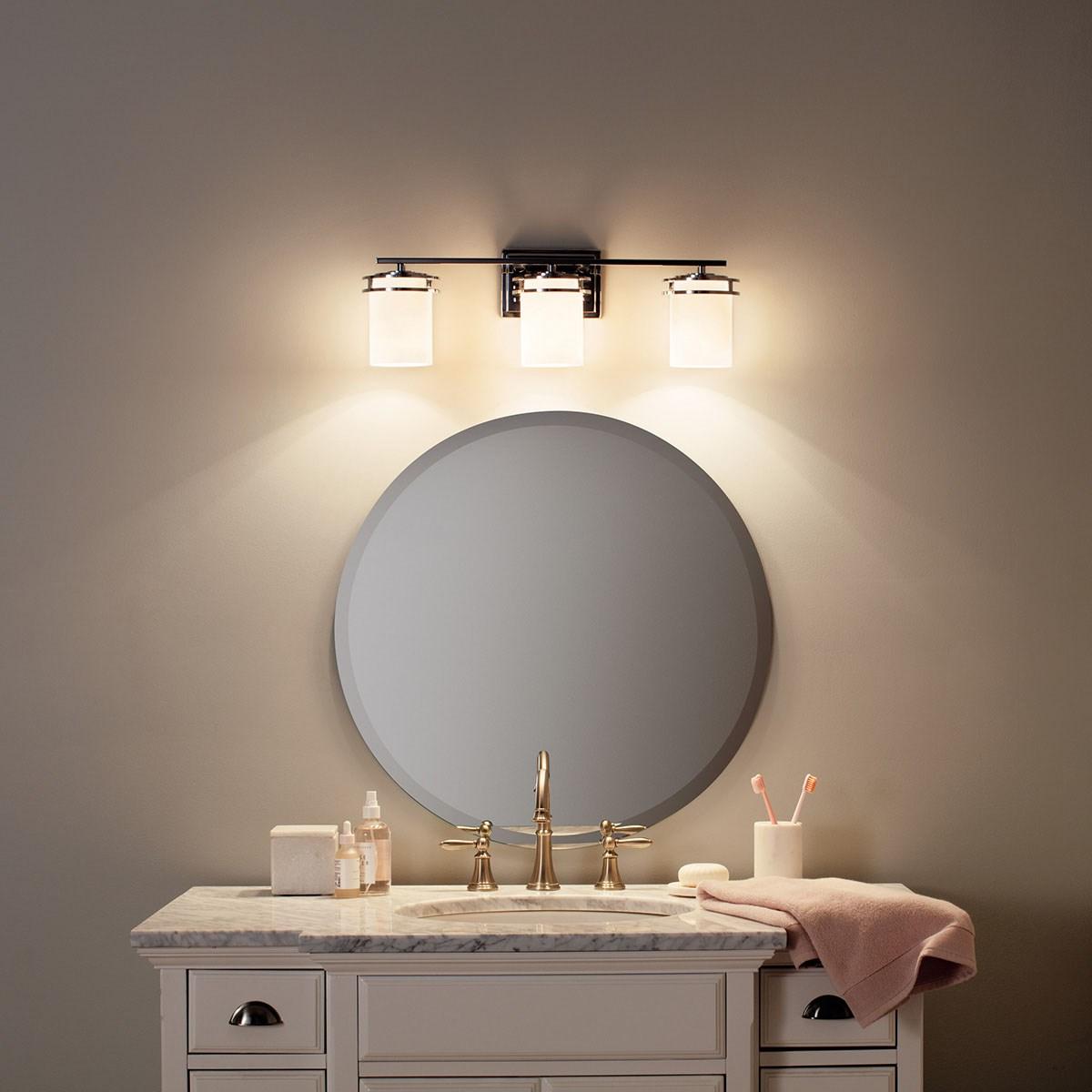Hendrik 24 3 Light Vanity Light With Satin Etched Cased Opal Glass Chrome Kichler Lighting