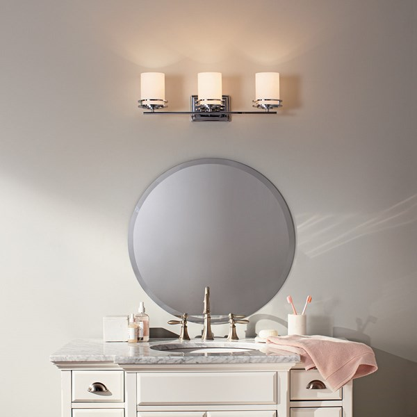 "Hendrik™ 24"" 3 Light Vanity Light with Satin Etched Cased Opal Glass Chrome"
