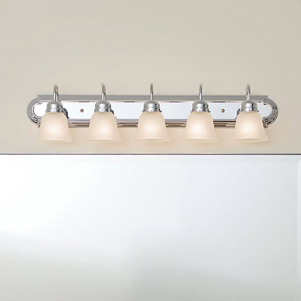 36 5 Light Vanity Chrome, 5 Light Bathroom Fixture