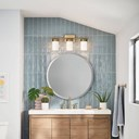 "Ciona™ 24"" 3 Light Vanity Light with Round Ribbed Glass Brushed Natural Brass"