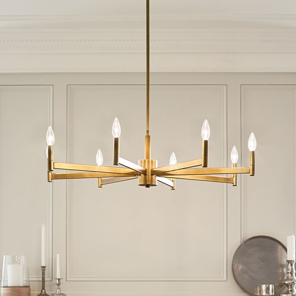 Erzo™ 8 Light Chandelier Natural Brass