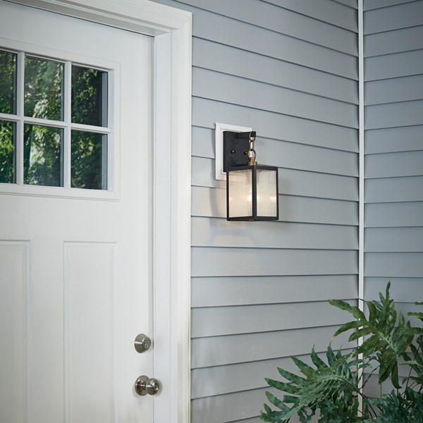 "Lahden™ 16.75"" 1 Light Outdoor Wall Light with Clear Seeded Glass Weathered Zinc"