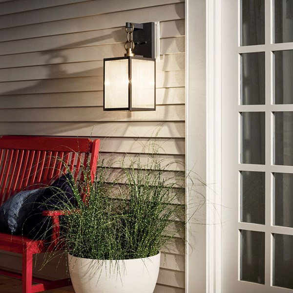 "Lahden™ 21.75"" 1 Light Outdoor Wall Light with Clear Seeded Glass Weathered Zinc"