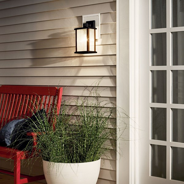 "Marimount™ 12.75"" 1 Light Outdoor Wall Light with Clear Ribbed Glass Black"