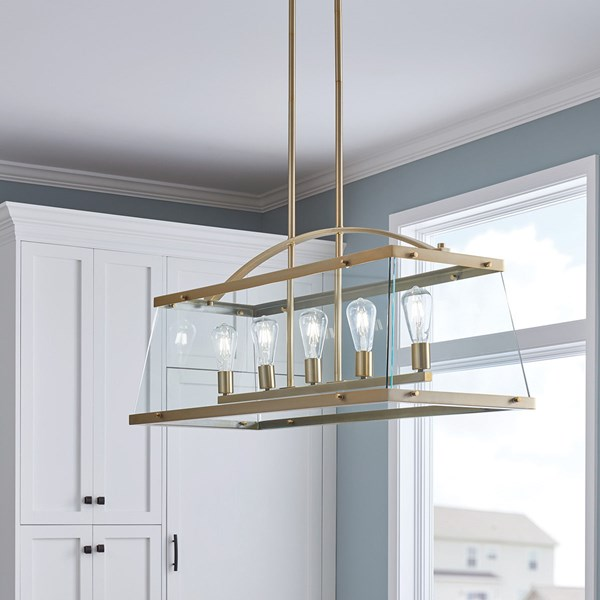 "Darton™ 40.75"" 5 Light Linear Chandelier with Clear Glass Brushed Natural Brass"