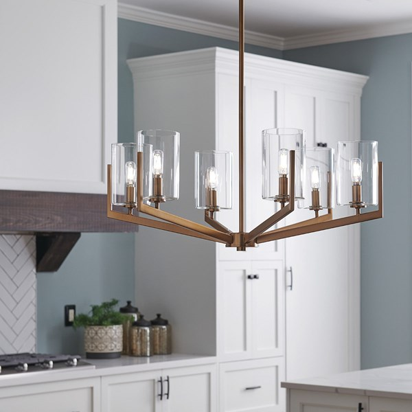 "Nye™ 14.75"" 6 Light Chandelier with Clear Glass Brushed Natural Brass"