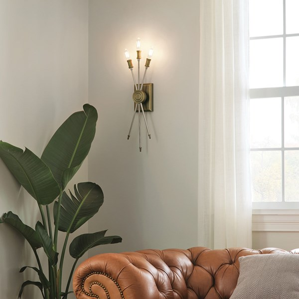 Doncaster 3 Light Wall Sconce Natural Brass