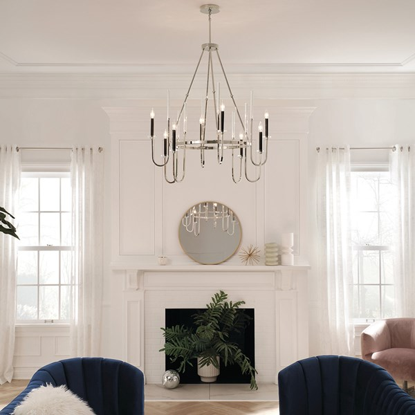 "Kadas™ 40.75"" 8 Light Chandelier with Clear Crystal Glass Polished Nickel"