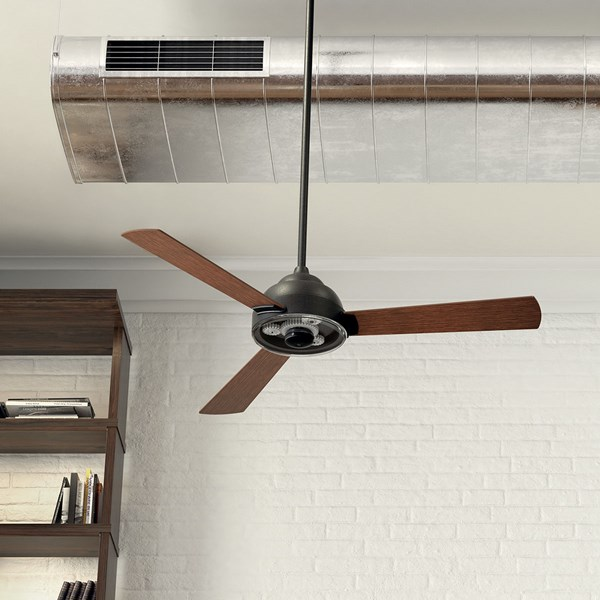 "Pinion 60"" Fan Anvil Iron finish and Distressed Antique Gray Blades"