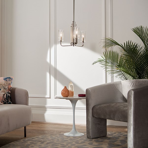Kimrose™ 3 Light Chandelier with Clear Fluted Glass Polished Nickel and Satin Nickel