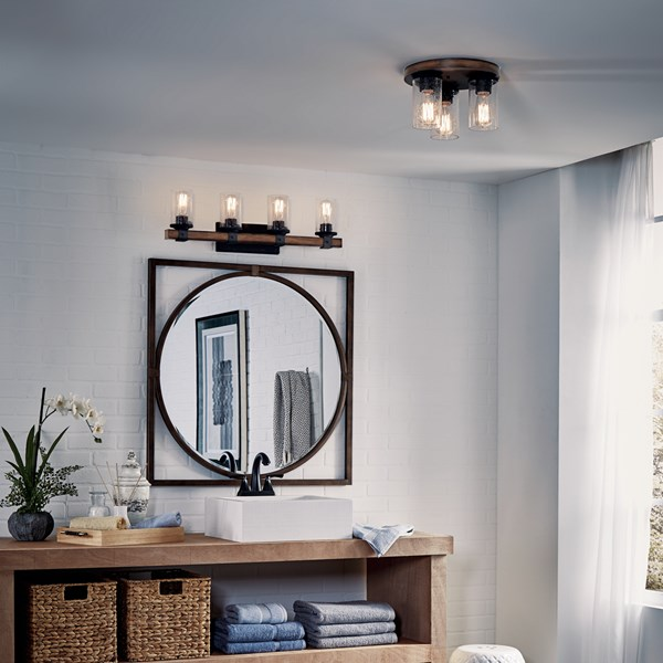 Barrington™ 3 Light Flush Mount Distressed Black & Wood