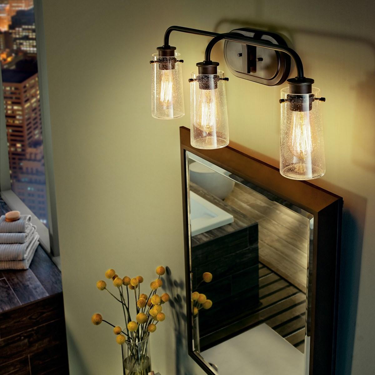 Braelyn 24 3 Light Vanity Light With Clear Seeded Glass Olde Bronze Kichler Lighting