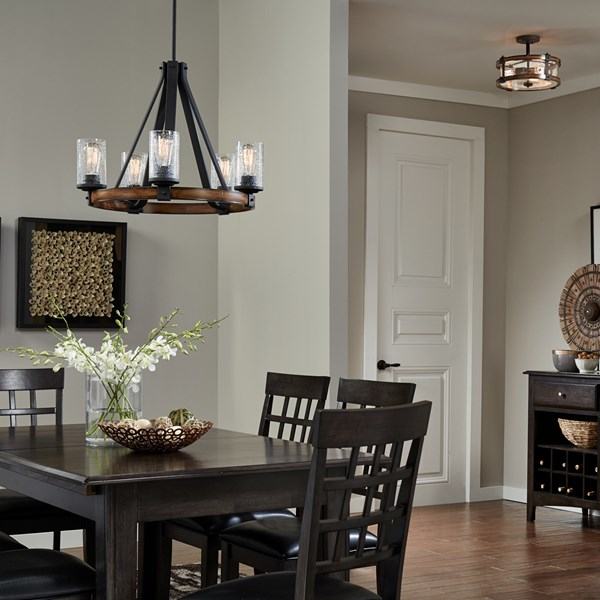 Barrington™ 3 Light Semi Flush Distressed Black Metal & Wood
