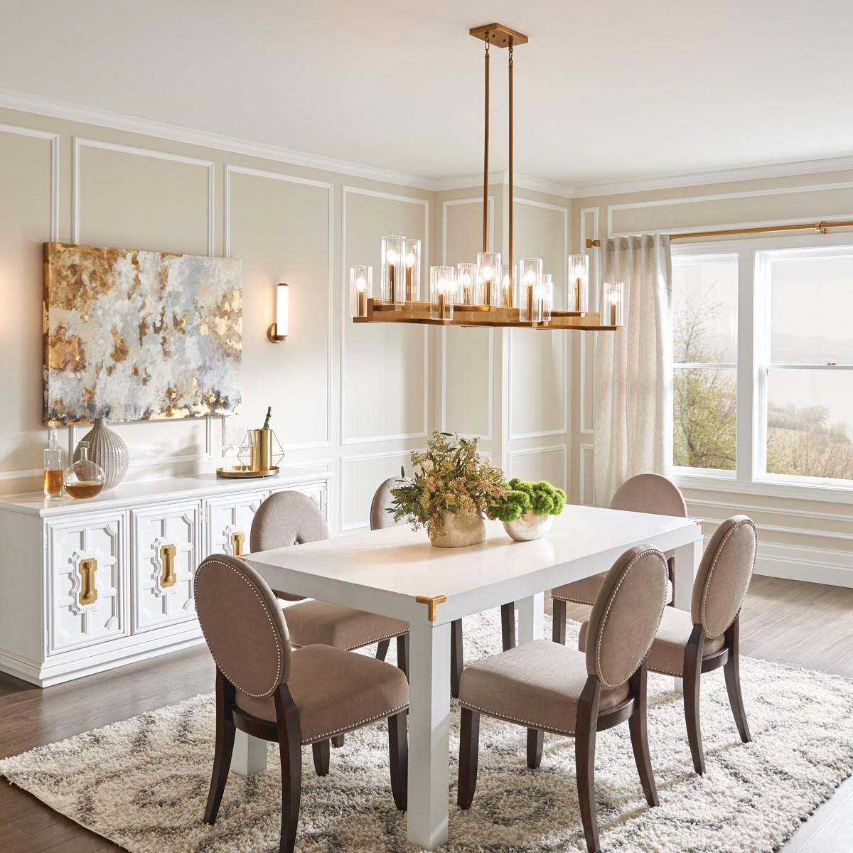 Cleara 14 Light Linear Chandelier Gold, Linear Chandelier Dining Room