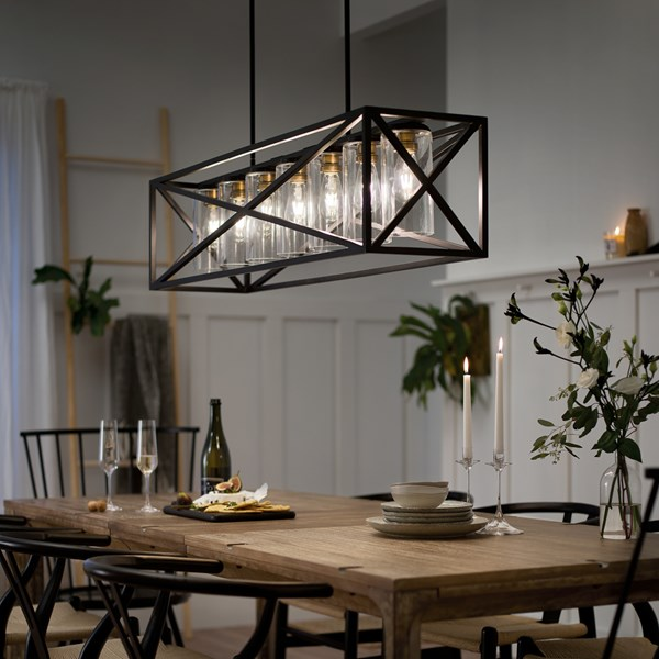 Moorgate™ 7 Light Linear Chandelier Black