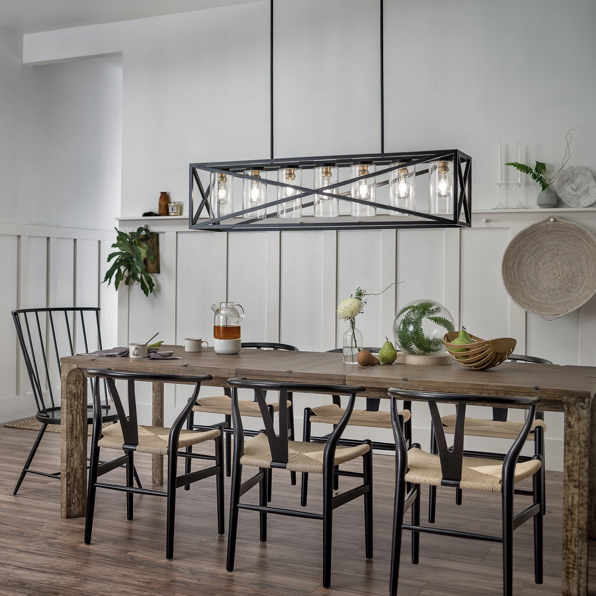 Moorgate 5 Light Linear Chandelier Black Kichler Lighting