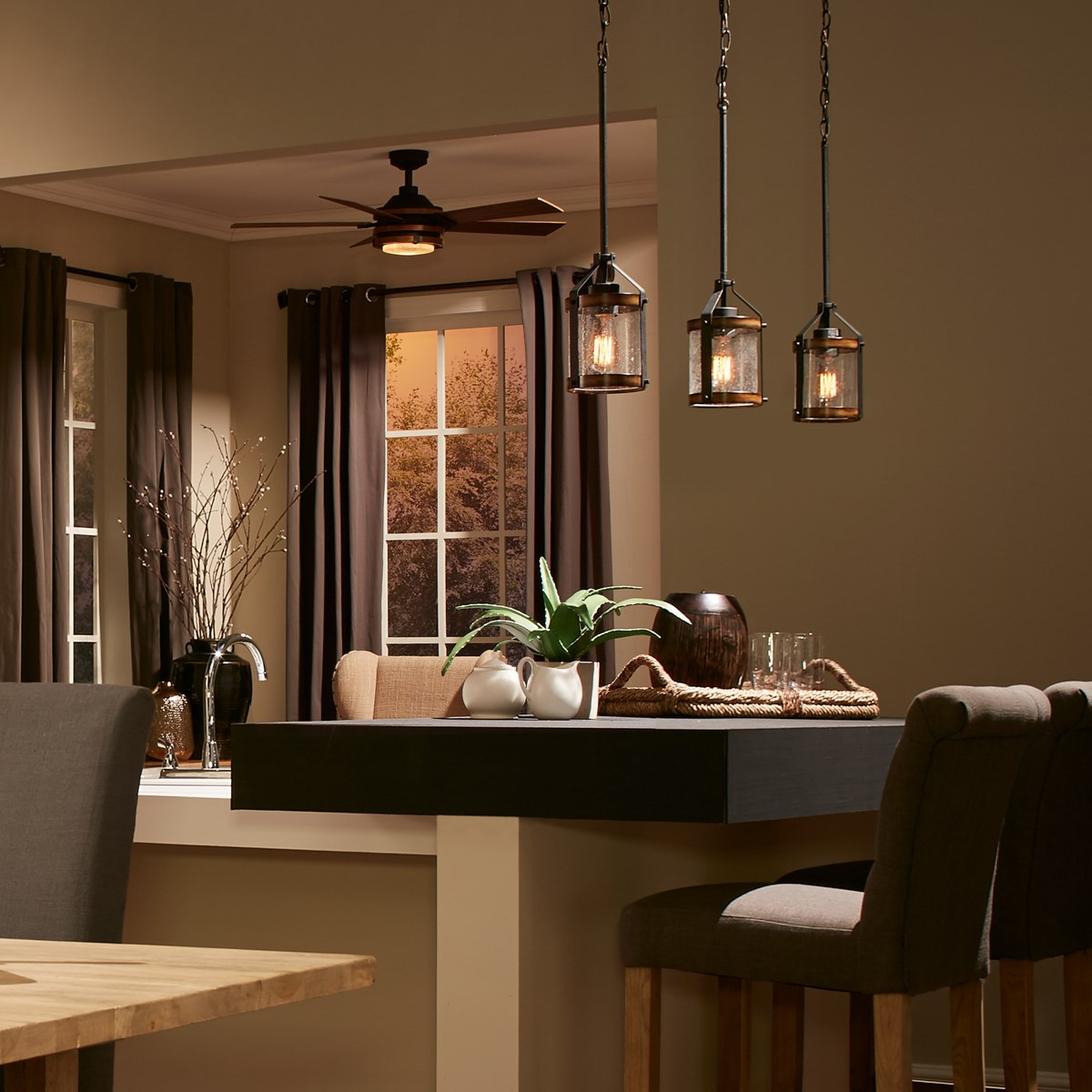 Barrington 1 Light Pendant Distressed Black Kichler Lighting