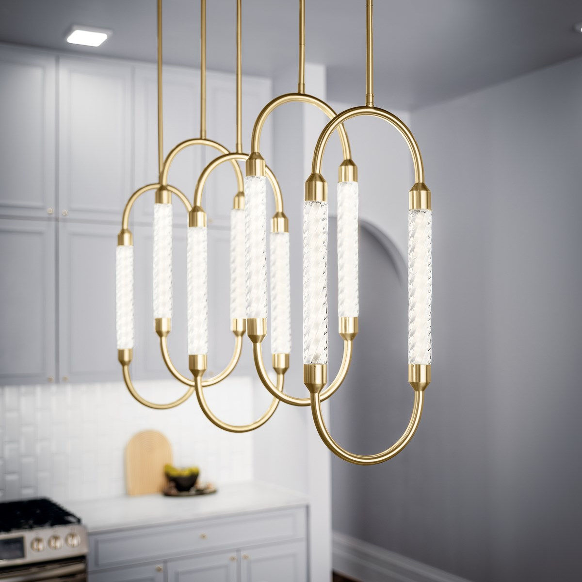 Delsey™ 5 Light Linear Pendant Cluster Champagne Gold