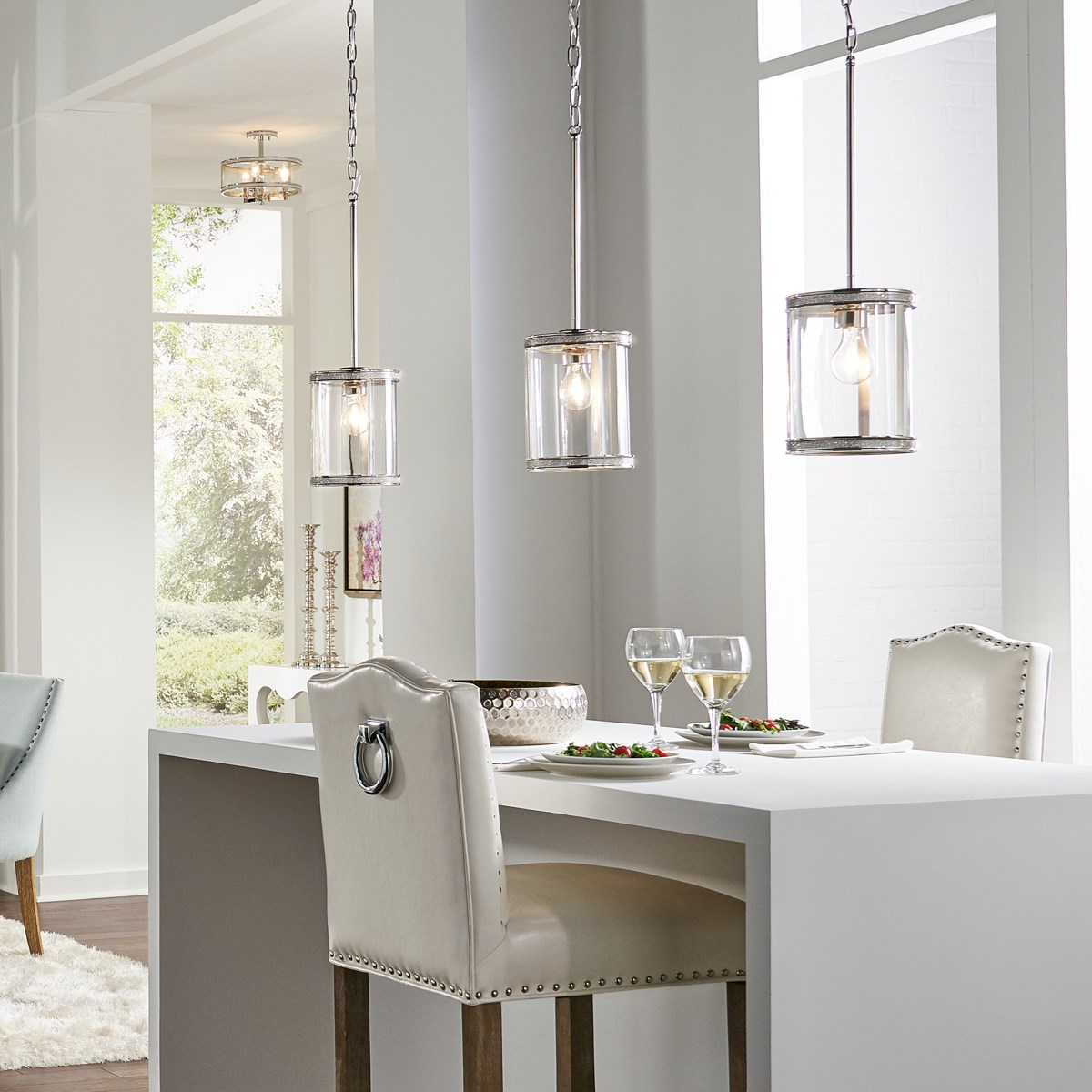 Angelica 1 Light Mini Pendant Polished Nickel Kichler