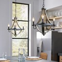 "Merlot 18.75"" 3 Light Wine Barrel Chandelier Distressed Black"