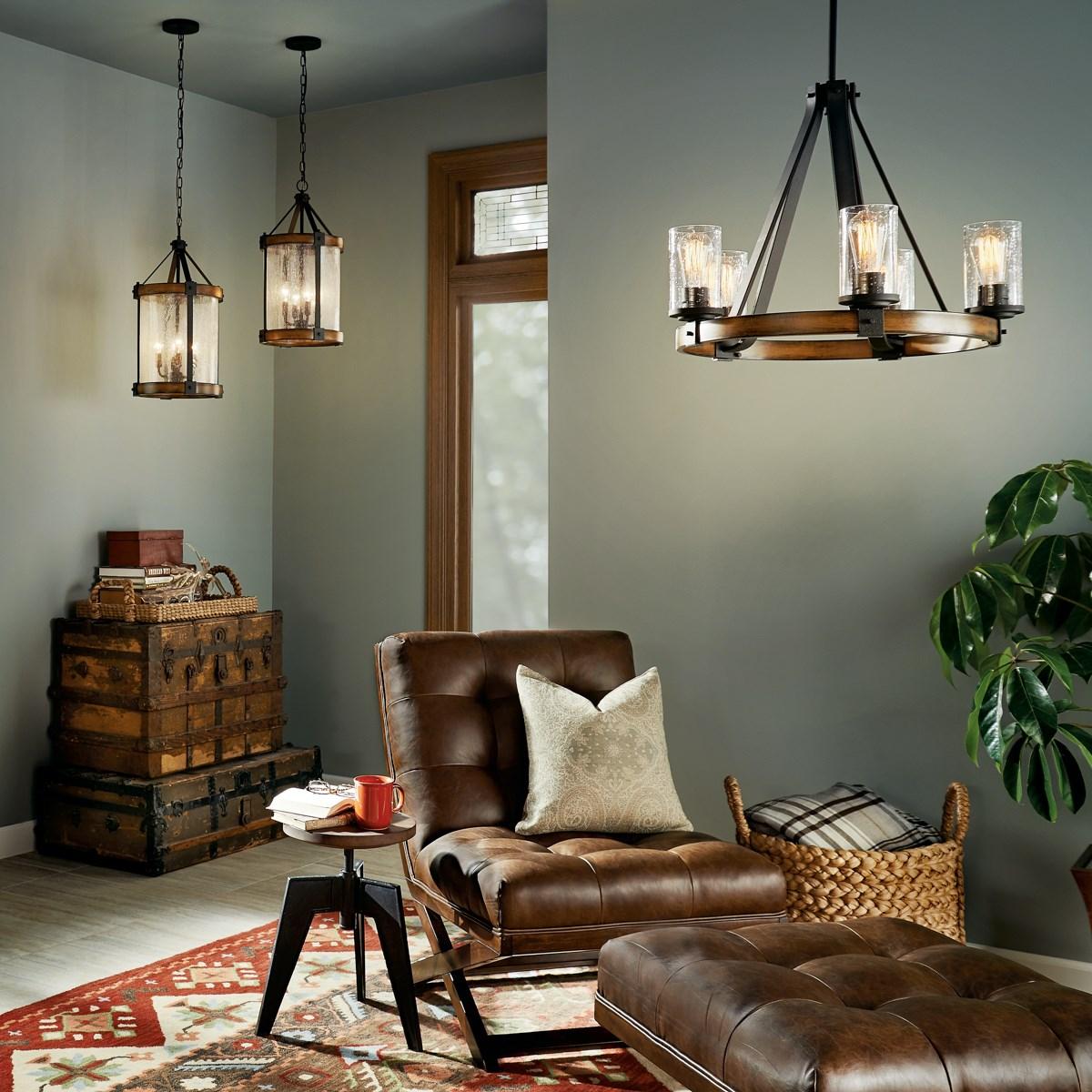 Barrington™ 5 Light Chandelier Distressed Black & Wood