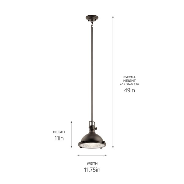 "Hatteras Bay™ 11"" 1 Light Pendant with Clear Fresnel Lens Polished Nickel"