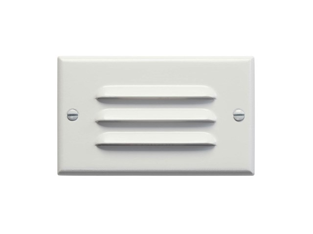 Horizontal Louvered LED Step Light White