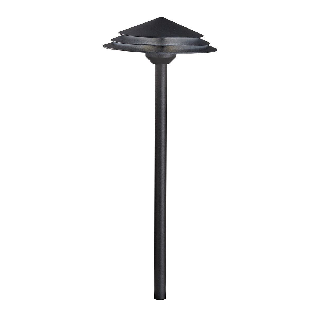 Round Tiered 3000K LED Path Light Textured Black