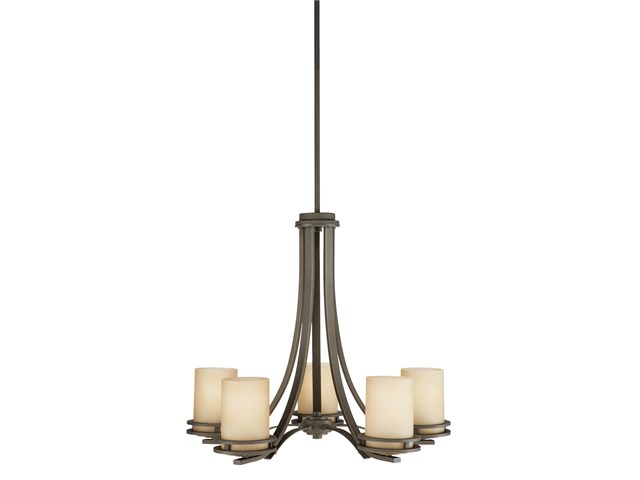 "Hendrik™ 21.5"" 5 Light Chandelier with Light Umber Etched Glass Olde Bronze®"