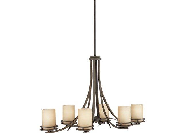"Hendrik™ 22.75"" 6 Light Chandelier with Light Umber Etched Glass Olde Bronze®"