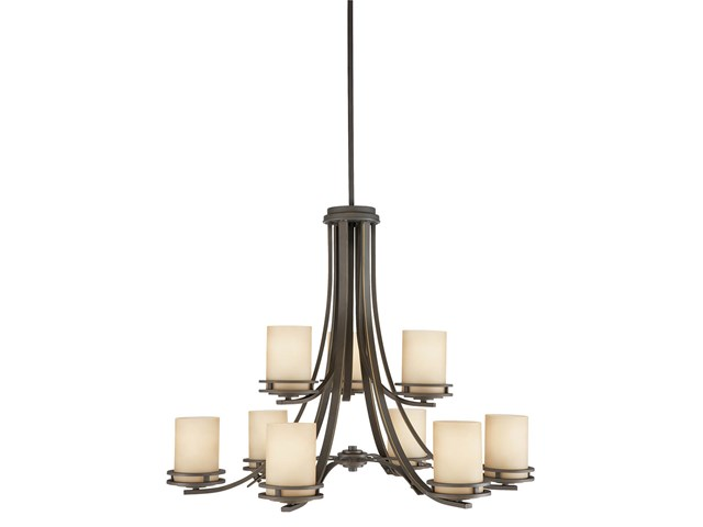 "Hendrik™ 25.75"" 9 Light Chandelier with Light Umber Etched Glass Olde Bronze®"