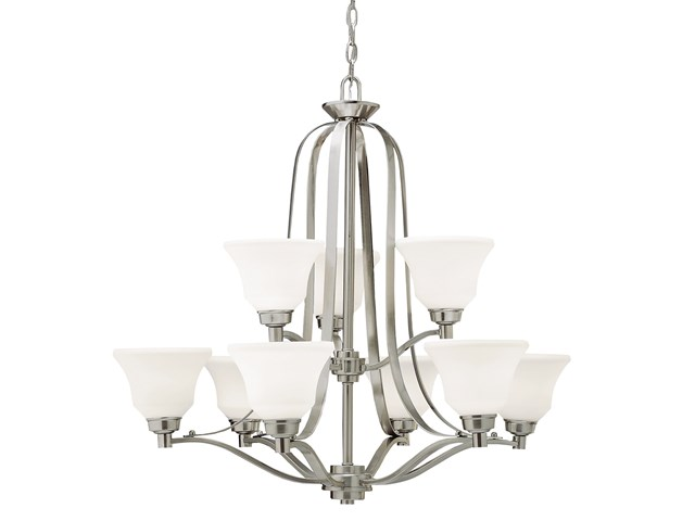 Langford™ 9 Light Chandelier with LED Bulbs Brushed Nickel