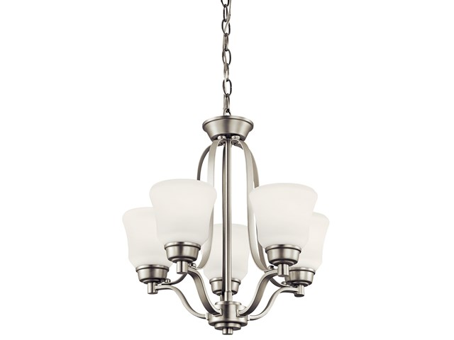 Langford™ 5 Light Mini Chandelier with LED Bulbs Brushed Nickel