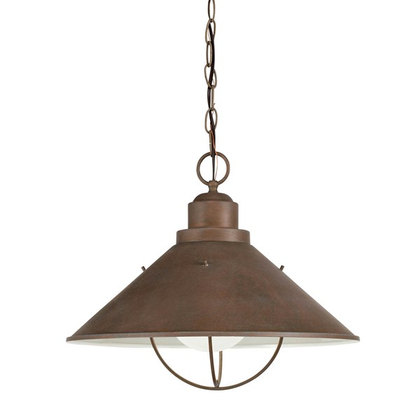 "Seaside™13.25"" 1 Light Pendant with Glass Globe Olde Brick"