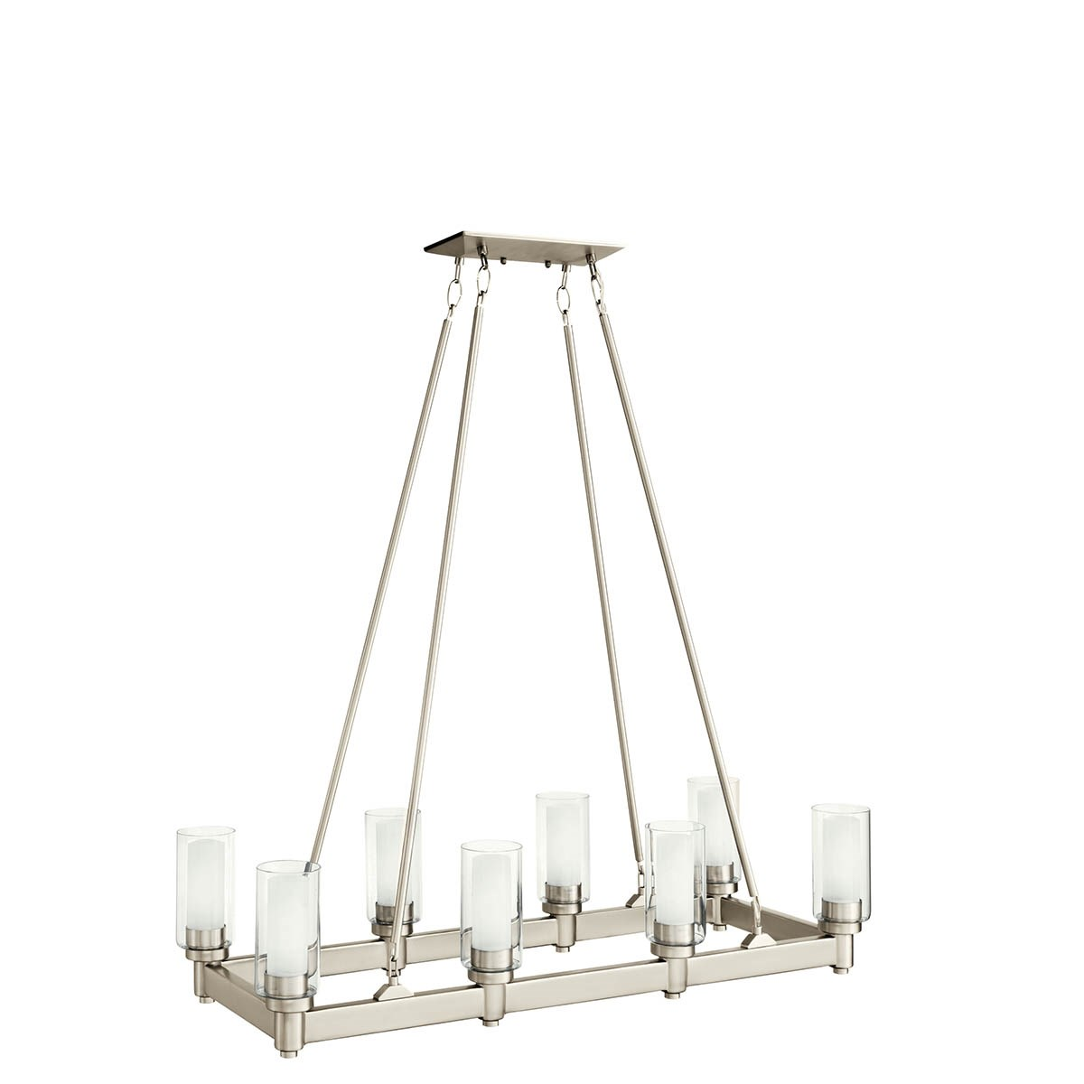Circolo 8 Light Linear Chandelier Brushed Nickel Kichler