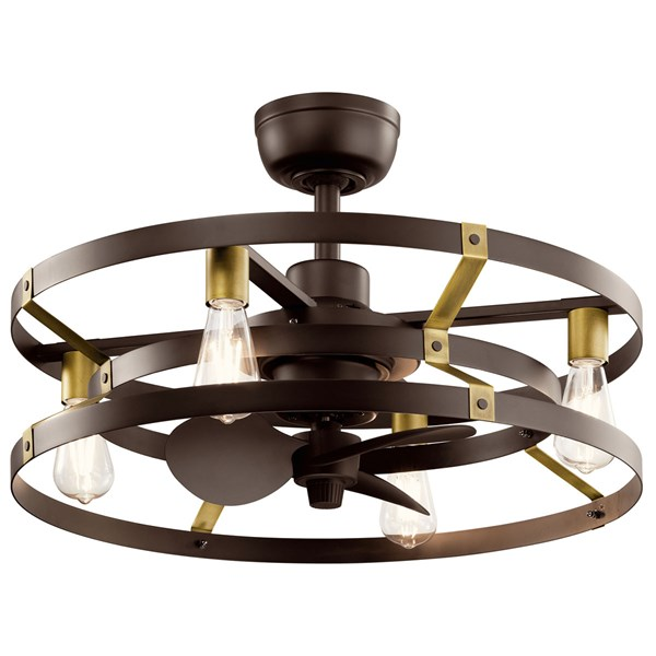 "Cavelli 25"" Fandelier Satin Natural Bronze Natural Brass Accents"