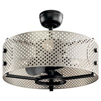 "Eyrie 23"" Fandelier Brushed Nickel Cage Black Accents"