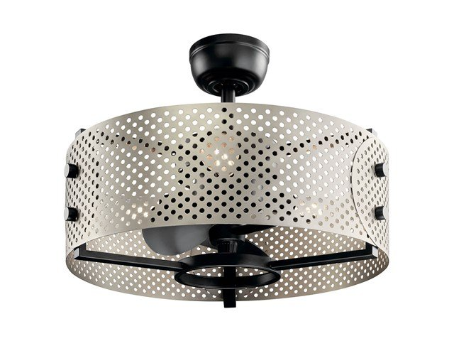 "Eyrie 13"" Fandelier Brushed Nickel cage Black Accents"