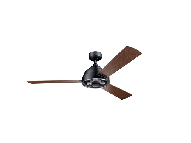 "Pinion 60"" Fan Distressed Black finish and Auburn Stained Blades"