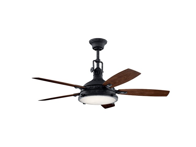 "Hatteras Bay LED 3000K 52"" Fan Distressed Black"