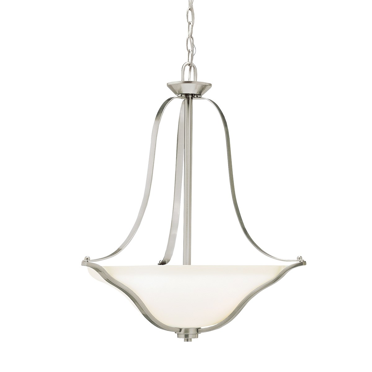 Langford™ 3 Light Inverted Pendant with LED Bulbs Brushed Nickel