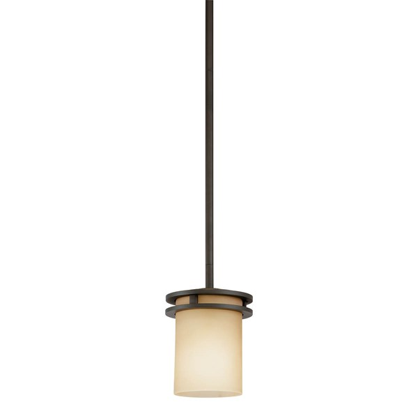 "Hendrik™ 7.5"" 1 Light Mini Pendant with Light Umber Etched Glass Olde Bronze®"