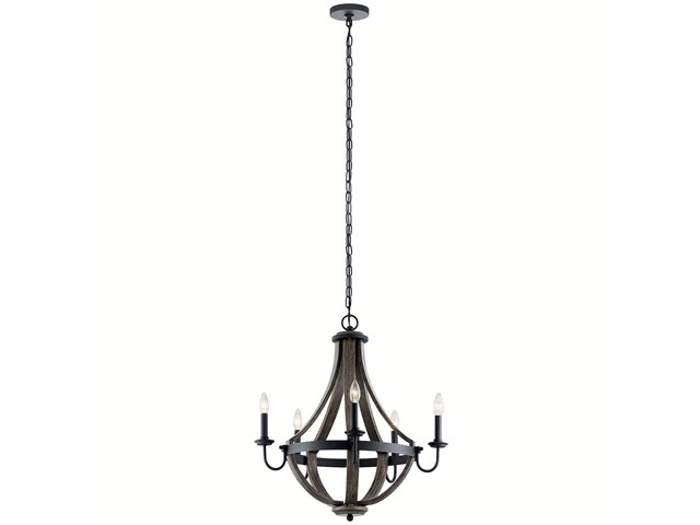 "Merlot 25"" 5 Light Wine Barrel Chandelier Distressed Black"