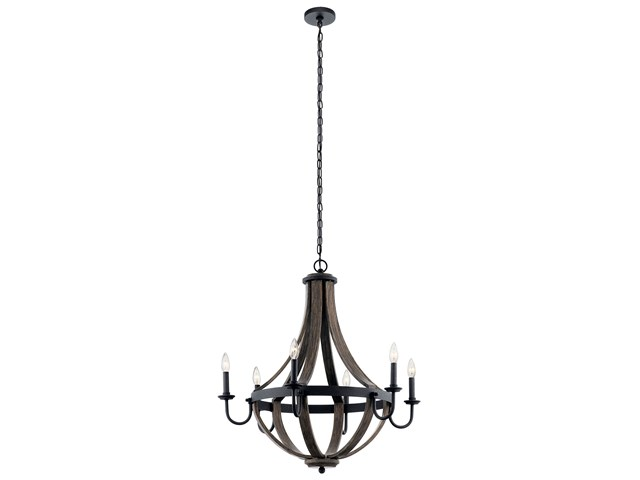 "Merlot 30"" 6 Light Wine Barrel Chandelier Distressed Black"