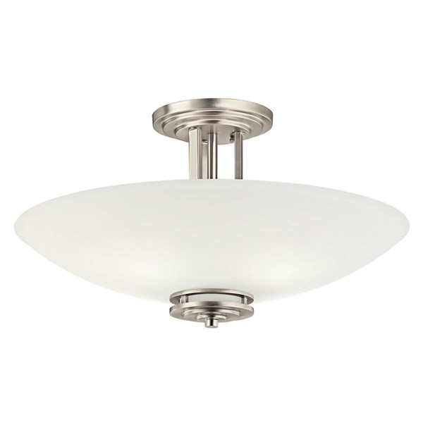 "Hendrik™ 24"" 4 Light Semi Flush with Satin Etched Cased Opal Glass Brushed Nickel"