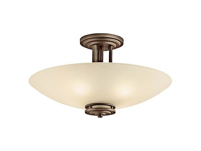 "Hendrik™ 24"" 4 Light Semi Flush with Light Umber Etched Glass Olde Bronze®"